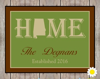 Personalized Home State Welcome Mat - U.S. State Front Door Mat - Custom Door Mat with Name - Personalized Wedding Gift - State Home Decor