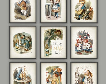Alice in Wonderland Wall Art Poster Set of 9 - Nursery Home Decor - Childrens Book Illustration Print Set of Nine - Girls Room Wall Art
