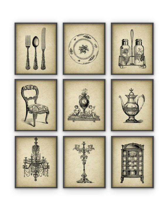 Dining room art prints set of 9 vintage home decor posters for Dining room vintage wall art