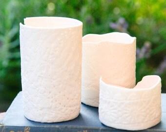 Large handmade porcelain tea light holder, candle holder, clay, ceramic, perfect gift!