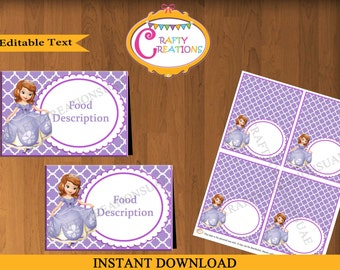 Instant Download - Sofia Food Tent Cards - Sofia Tent Cards - Princess Sofia Birthday - Party - Decorations - EDITABLE TEXT - PRINTABLE
