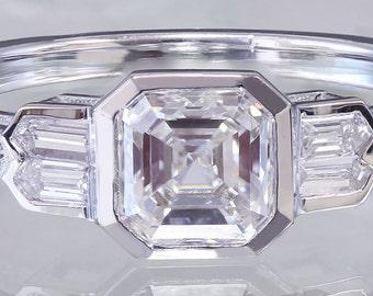 EGL USA H-VS2 14K White Gold Asscher Cut Diamond Engagement Ring Bezel Set 1.40ct