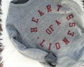 Womens Heart of a Lioness Sweatshirt / Grey & Burgundy Triblend