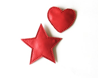 Red leather star, heart hair clip, red hair clip, heart snap clip, leather red star, red hair star, leather snap clip
