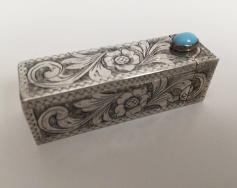 Sterling Silver Lipstick Holder, Vintage Lipstick Case, Turquoise Cabochon Clasp, Silver Compact Case, 800 Sterling Silver, Made in Italy