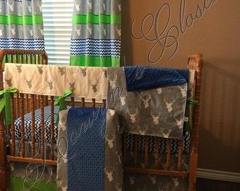 Custom Deer Chevron Crib Bedding Set