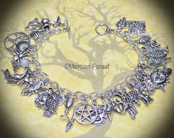 Pagan Charm Bracelet with 35 Charms - Pagan Jewellery Wicca, Witch, Solstice, Equinox, Handmade, Pentacle