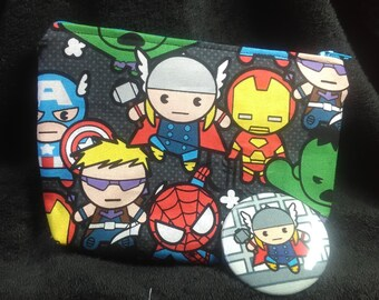 Avengers 7x5x2 Zipper bag with free coordinating button. makeup bag, toiletry bag, accessory bag.