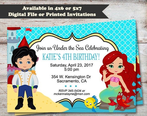 Little Mermaid Party Invitations Princess Ariel Birthday