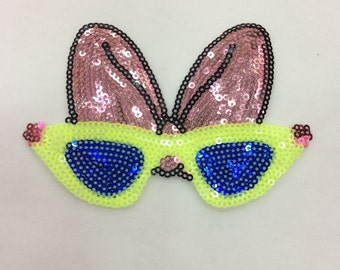 Bowknot glasses sequined applique patch Trousers or Jeans Decoration patch iron on patch