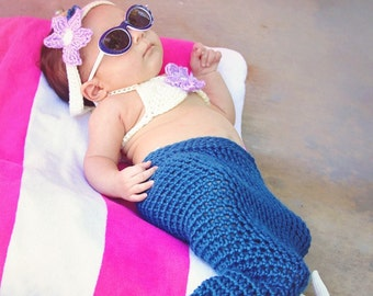 Crocheted mermaid outfit, mermaid costume, baby photo prop, baby gift, baby mermaid
