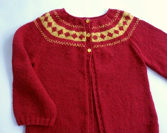 Knit girls sweater, red sweater for girl, hand knit sweater