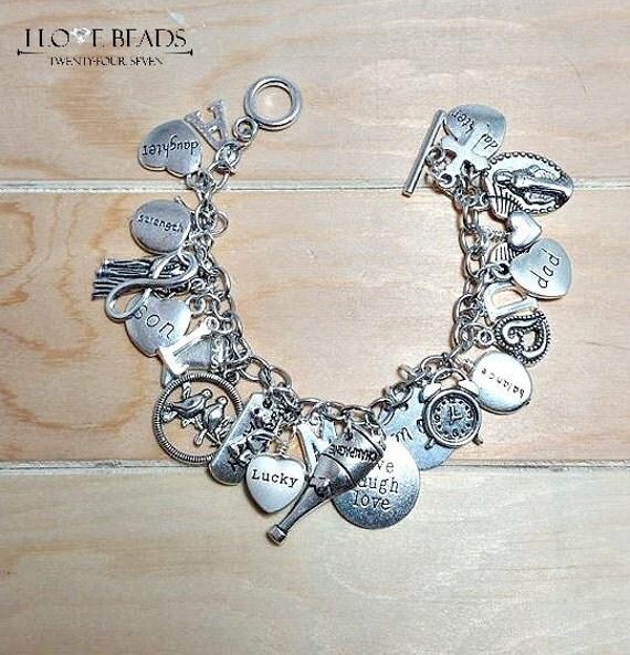 Design Your Own Custom Bangle Charm Bracelet Pick Your Charms: Charm Bracelet-make Your Own Charm Bracelet-silver Charm