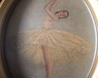 Pair of Vintage Monte Ballerina Art Prints in Oval Frames