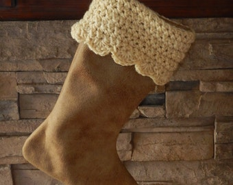 """FINAL MARKDOWN - Clearance - 16"""" Handmade Faux Leather Christmas Stocking with Handspun wool cuff"""