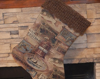 "FINAL MARKDOWN Clearance - 22"" Handmade Hunting/Fishing Christmas Stocking with 100% Handspun wool cuff"