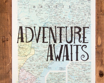 "Brazil Map Print, Adventure Awaits, Great Travel Gift, 8"" x 10"" Letterpress Print"