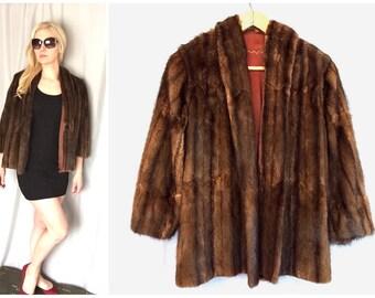 Fur Coat Vintage Brown Mink Half Quarter Sleeves Cape Cropped Open Front Women's Small / Medium