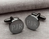 Monogrammed Round Gunmetal Cuff Link - Groomsmen Gifts - Engraved Cuff Link - Gifts for Him - Gift for Men- Personalized Cuff Links - (1331)