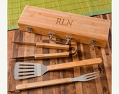 Personalized Grilling Set with Bamboo Case -  Grilling Tools - Grilling Set - Father's Day Gift - Groomsmen Gifts - RO112
