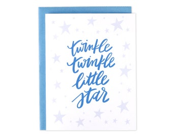 Baby Card, Baby Boy Card, Baby Girl Card, Unisex Baby Card, Twinkle Twinkle, New Baby, Blue Baby Card, Twinkle Twinkle Little Star