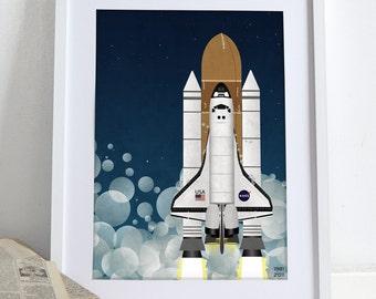 Nasa Space Shuttle Rocket Poster Wall Art Hanging Print Home Décor Moon Landing