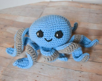 Blue Octopus, Amigurumi, Crochet Octopod, Stuffed Animal, Kawaii Octopus