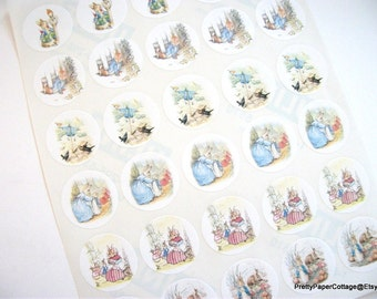 Peter Rabbit, Sticker Sheet, Baby Shower, Birthday Party, Thank You, Favor Bag, Jar Labels, Beatrix Potter, 30 Stickers, Medium, 1.5 Inch