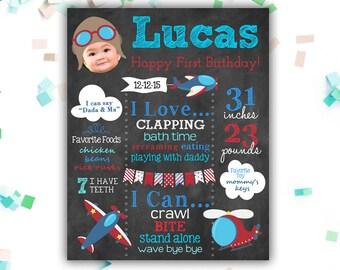 Airplane Birthday Decoration - Gift - Keepsake - Printable First Birthday Chalkboard - Aviation - Any Age - Plane - Personalized Chalkboard