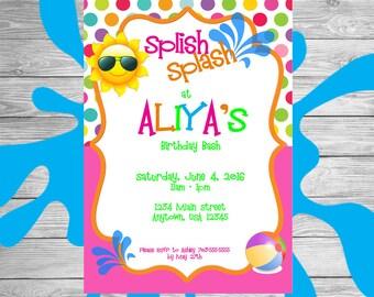 Splish Splash Birthday Invitation, Pool Party Invitation, Pool Party, Printable Invitation, Girls Birthday, Summer Birthday Invitation