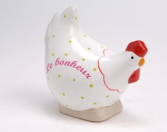 "Statue of hen ""Happiness"", ceramic, for decoration or collection. H 4.3 inches"