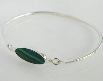 Vintage Sterling Silver Malachite Bracelet