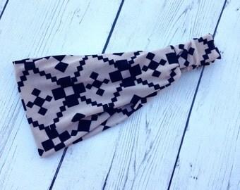 Beige, Tan and Black Aztec, Fabric Headwrap, Headband, Wide Headband, Geometric Print