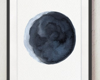 Old Moon Print Navy Bedroom Home Decoration, Paper Moon Canvas Wall Art, Blue Abstract Full Painting, Moon Phases Watercolour, Living Room