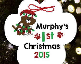 personalized dog (or cat)  ornament - paw print ornament personalized dog's first christmas ornament DCPO
