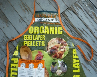 Repurposed Feed Bag Apron, Recycled Feed Bag Apron, Chicken Feed Bag Child's Apron
