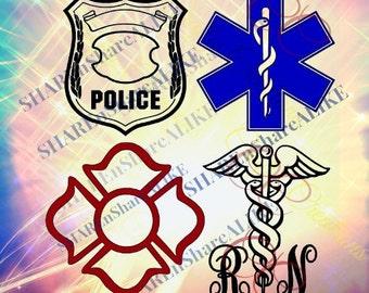 Police SVG Nurse Life 2017 Mom Star Life Ems DXF Paramedic  Rescue RN Fire Dad Love Team Hero Cricut Vinyl Shirt Mug Grade 2018 Decal.
