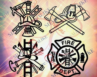 Firefighter SVG DFX Badge Logo Emblem EMS Life Hat Shirt Mug Fire Truck Hose Ladder Dept Uniform Team Flames Hot Abc  1 2 3 Dad Decal.