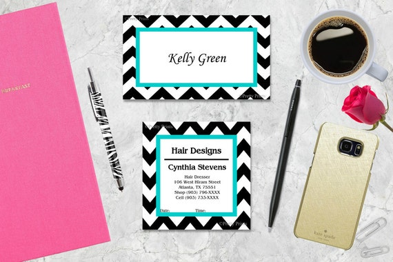 Chevron Gift Tags, Chevron Black, Turquoise, Aqua, Tags, Business Cards, Calling Cards, Appointment Cards, Personalized Gift Tags