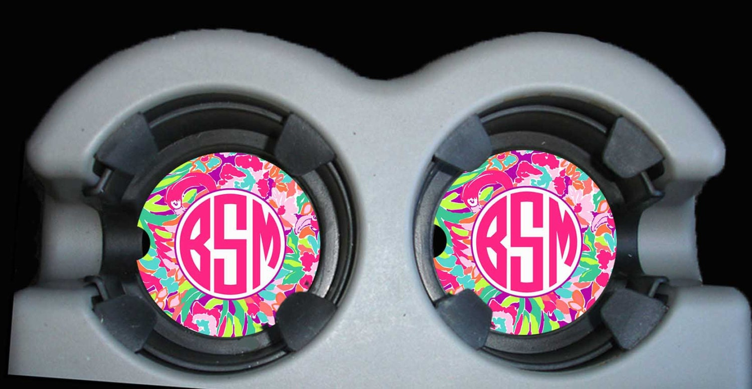 monogram car coaster cup holder coasters personalized car