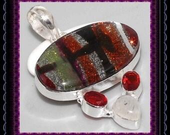 CLEARANCE...!!! Dichroic Glass & Garnet Pendant