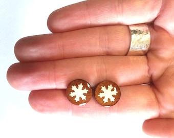 SNOWFLAKE Earring Studs, Wood Earrings, Wood Studs, Christmas Studs, Holiday Studs, Holiday Earrings