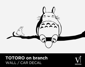 Totoro Wall Decal, Chibi Totoro Branch Vinyl Sticker  - 840 x 450mm - Multiple Colours Available