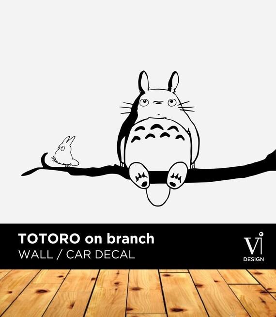 totoro wall decal chibi totoro branch vinyl sticker 840 x 450mm