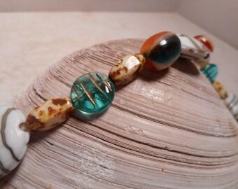 Chunky Lampwork Glass Bead Bracelet Colorful,Glass Bead Bracelet