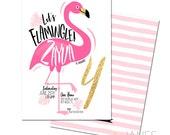 "Flamingo Birthday Invitation | Flamingle Invite | Flamingle Shower Invite | Flamingo Printable - 5X7 with *bonus reverse side"""