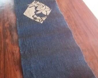 Japanese indigo KATAZOME dyed blue long table center hemp fabric 014