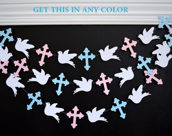 Cross garland, Christening dedication, first communion/ Twins baby shower pink or blue baptism garland dove decor, God bless your baby decor