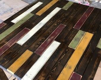Farmhouse Rustic Multi Colored Breakfast Table