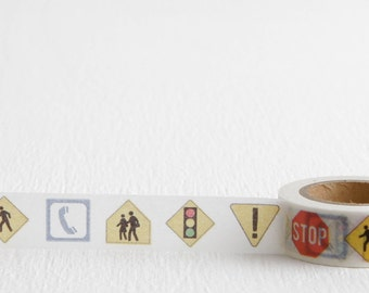 Traffic Sign Washi Tape, Road Signs Stop Sign Crosswalk Traffic Light, 15mm